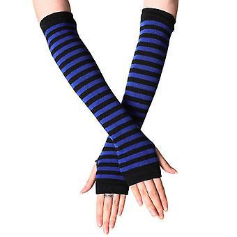 (Svart och Blå) Kvinnors Stretchiga Armbåge Fingerlösa Långa Handskar Randiga Arm Handled Varmare Vantar