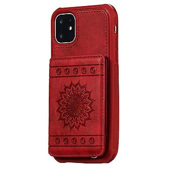Wallet Pu Leather Phone Case For Iphone 11 Pro Max Chinese Style Embossed Sunflower