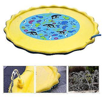 Pvc Jouet Water Spray Pad et jeu de pelouse d'été (Arc-en-ciel jaune)