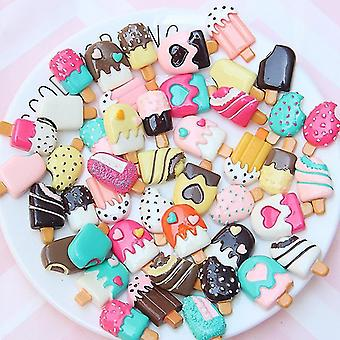 30pcs Candy Color Ice Cream Supplies Charm Resin Slime- Accessories Phone Case