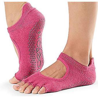 ToeSox No Toe Bellarina Pilates Yoga Dance Martial Arts Grip Socks - Raspberry