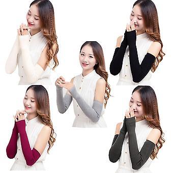 Warm Fingerless Gloves Winter Mittens Knitted Half Finger Cuff Gloves Long Women