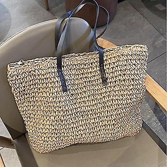 Zomer stijl trendy rotan geweven handtassen (Bruin A)