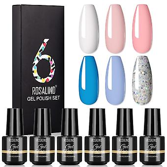 6pcs Base Top Coat Profession Nail Gel Kit Polish Glitter Vernis Semi Permanent Uv Led Nail Art Set Slatc6-09-01