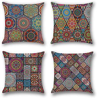 Multicolor Mandala 4 Pack Home Dekorative Kissenbezüge Quadratische Kissenbezüge Polyester Leinen werfen Kissenbezüge