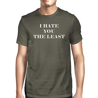 I Hate You The Least Dark Grey Short Sleeve Graphic Tee For Men