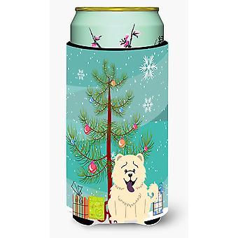 Merry Christmas Tree Chow Chow White Tall Boy Beverage Insulator Hugger