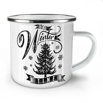 Winter Time Christmas NEW WhiteTea Coffee Enamel Mug10 oz | Wellcoda