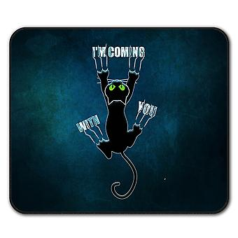 Attached Cute Funny Cat  Non-Slip Mouse Mat Pad 24cm x 20cm | Wellcoda