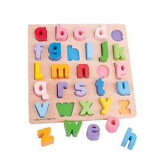 Bigjigs Toys Chunky Wooden Alphabet Puzzle (Lowercase) Educational Jigsaw