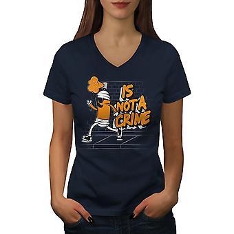 Not Crime Spray Can Funy Women NavyV-Neck T-paita | Wellcoda, mitä sinä olet?