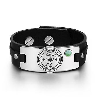 Aartsengel Michael Sigil magische krachten Amulet groene Quartz edelsteen verstelbare zwart lederen armband