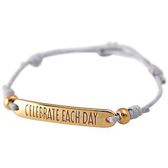 Gemshine Damen Armband Gravur CELEBRATE EACH DAY Rose Vergoldet grau