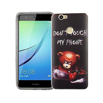 Mobile Shell dla Huawei Nova pokrywa case torba ochronna motyw slim TPU + zbroi ochrony szkła 9 H logo niedźwiedź z piłą łańcuchową