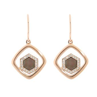 Orphelia Silver 925 Drop Earring Rose Gold and Black Mother of Pearl and Zirconium - zo-7372