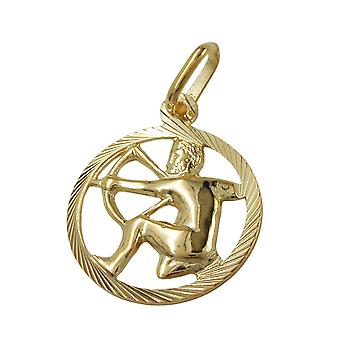 Pendant 15mm star sign of Sagittarius 9Kt GOLD
