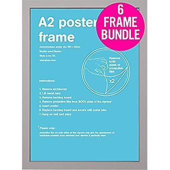 GB Posters 6 Silver A2 MDF Poster Frames 42 x 59.4cm Bundle