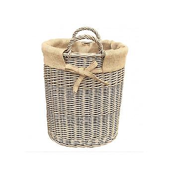 Small Oval Hessian Lined Log Basket