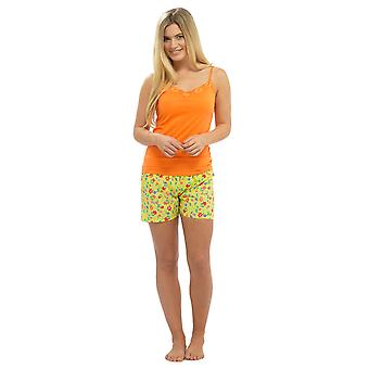 Damer Strappy Jersey Top & trykt Shorts om sommeren pyjamas pyjamas nattøj