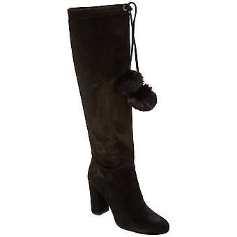 Michael Kors Remi futro Pom Pom wysokie buty w czarny zamsz