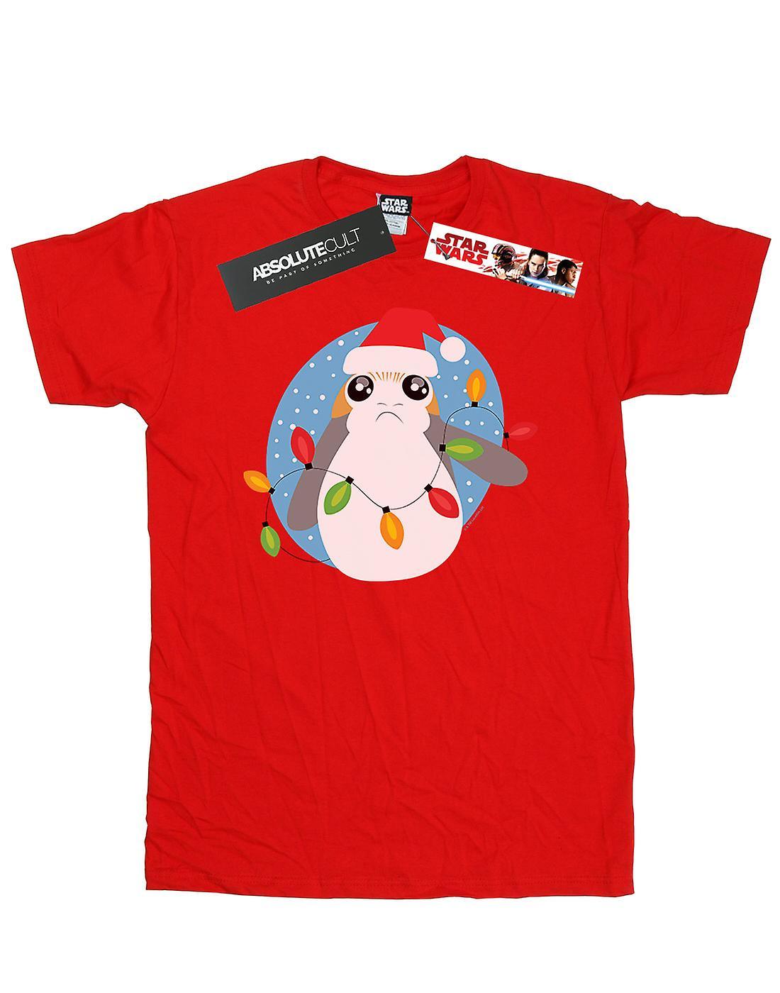Star Wars Girls The Last Jedi Porg Christmas Lights T-Shirt