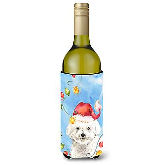 Christmas Lights Bichon Frise Wine Bottle Beverage Insulator Hugger