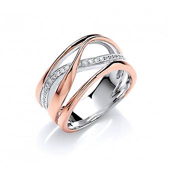 Cavendish French Silver, Rose Gold and CZ Wide Strand Ring