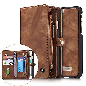 CASEME iPhone 6 s 6 Retro Split Leder Brieftasche Case-Kaffee