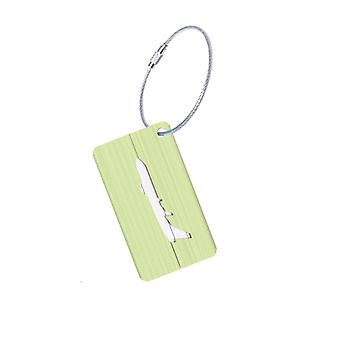 Aluminium luggage tag with airplane motif-green