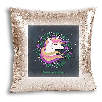 i-Tronixs - Unicorn Printed Design Champagne Sequin Cushion / Pillow Cover with Inserted Pillow for Home Decor - 10