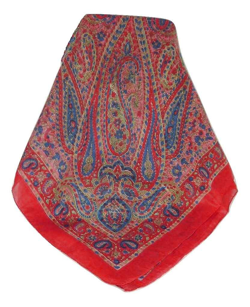 Mulberry Silk Traditional Square Scarf Zorn Scarlet by Pashmina & Silk