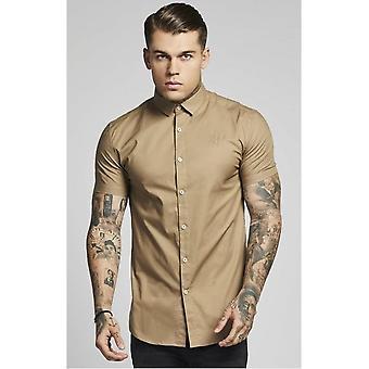 Sik Silk Short Sleeve Beige Cotton Stretch Shirt