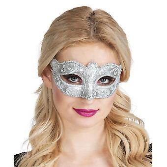Womens Venice Felina Eye Mask Silver Carnival Fancy Dress Accessory