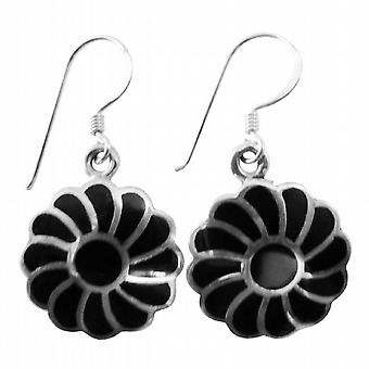 Gorgeous Gift Buy Sterling Silver Flower Shaped Onyx Inlaid Earrings