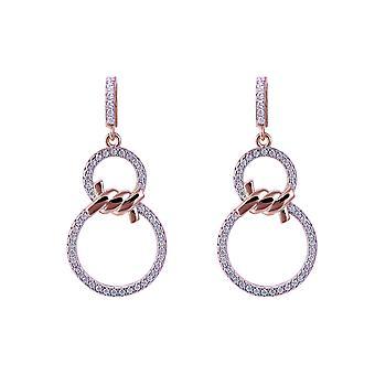 Orphelia Silver 925 Earring steeg 2 cirkels met Zirkonium - ZO-7422