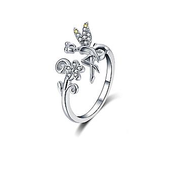 Adjustable Fairy Ring adorned with Crystal by White and Silver Swarovski 925 8159
