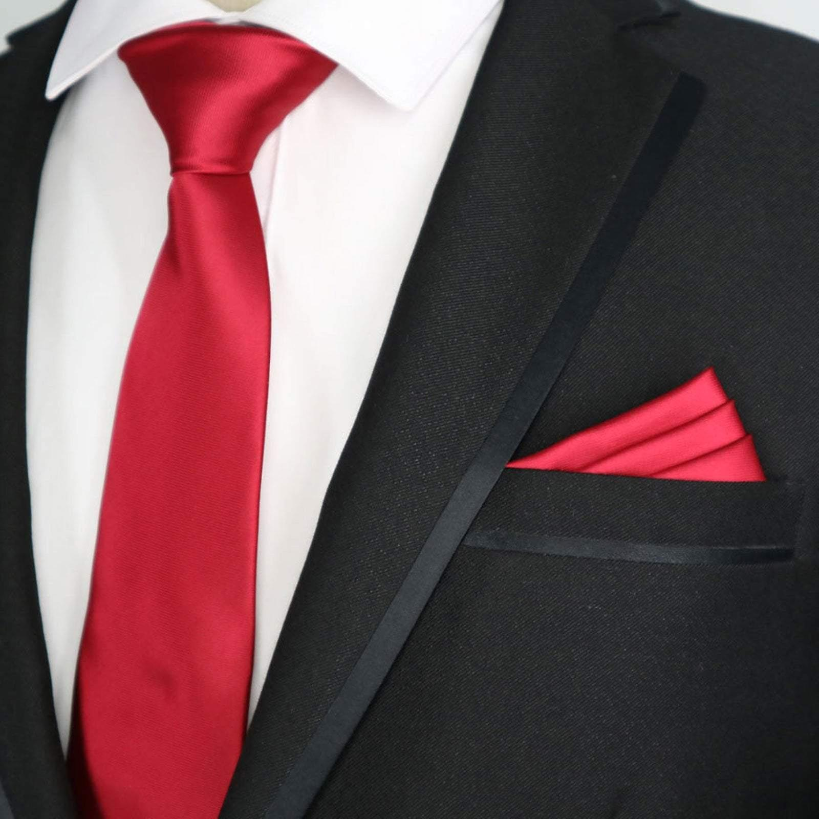 Bright red solid satin finish slim tie & pocket square
