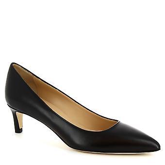 Chaussures à talon Mid à la main de Leonardo Chaussures femmes en cuir Napa noir