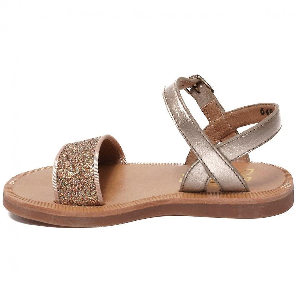 Pom D'api Plagette Buckle Tao Sandal, Old Gold/bronze
