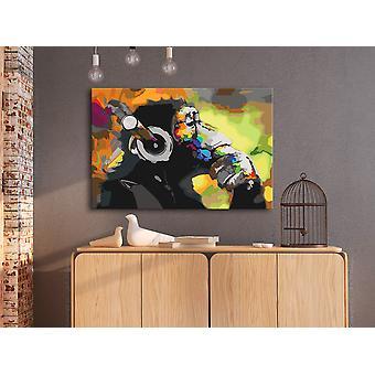 DIY canvas painting - Monkey In Headphones (Multi Colour)-60x40