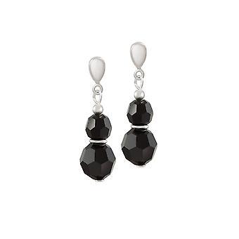 Collection éternelle écho Jet noir argent en cristal autrichien ton Clip Drop boucles d'oreilles