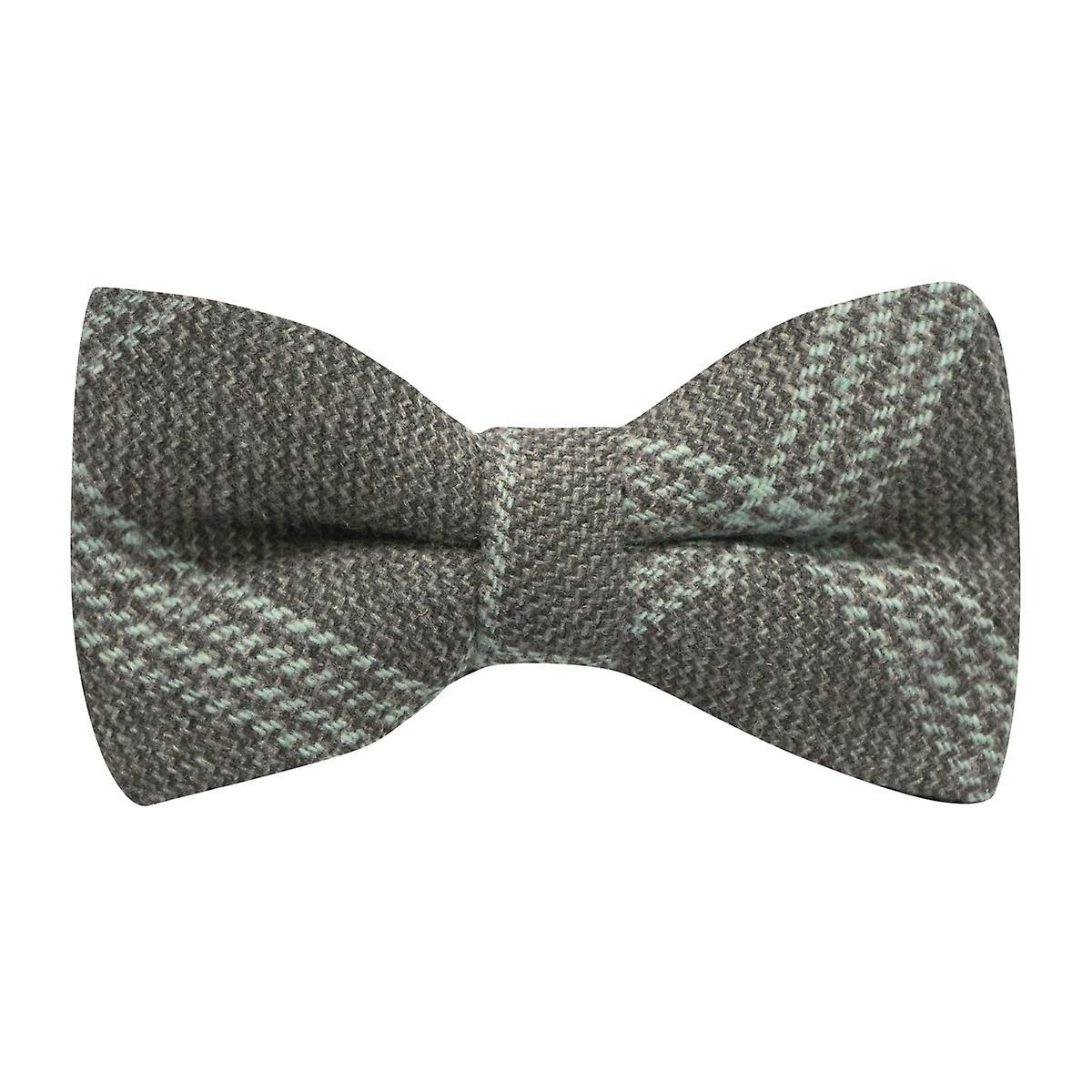 Slate Grey & Blue Birdseye Check Bow Tie