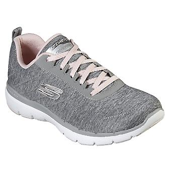 Skechers Womens Flex Appeal 3.0 - Insiders Lace Up Air Cooled Memory Espuma Sapato Cinza/Rosa Claro
