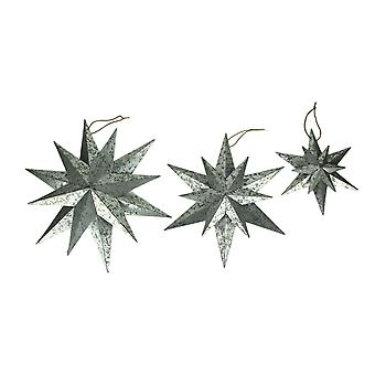 Rustic Galvanized Metal 12 Pointed Star Wall Sculptures Set of 3