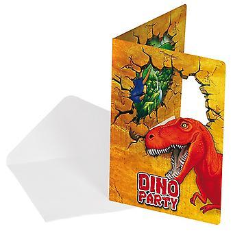 Uitnodiging uitnodigingen uitnodiging kaart dinosaurus Dino partij verjaardag 6 stuks