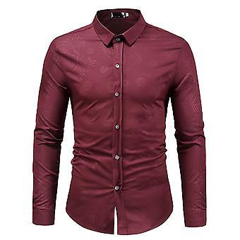 Allthemen mannen ' s slanke donkere graan gedrukte revers casual lange mouwen shirt