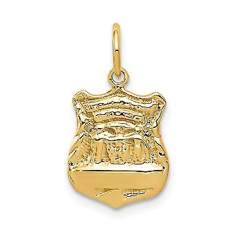 14 k gul guld Solid Engravable poleret tilbage politi Badge charme - 1,5 gram - foranstaltninger 15x10mm
