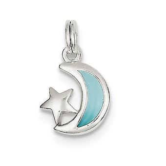 925 Sterling Argent Poli Open Dos Blue Enameled Celestial Moon and Star Charm Pendant Necklace Jewelry Gifts for Wo