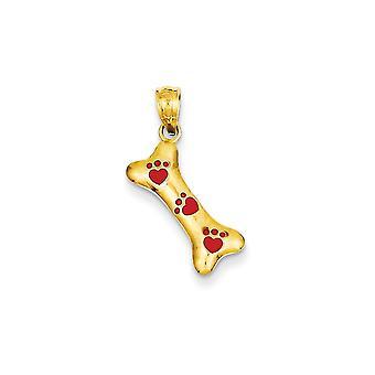 14 k gult guld polerad öppen rygg texturerat baksidan hund ben röd emalj Paw Prints hänge