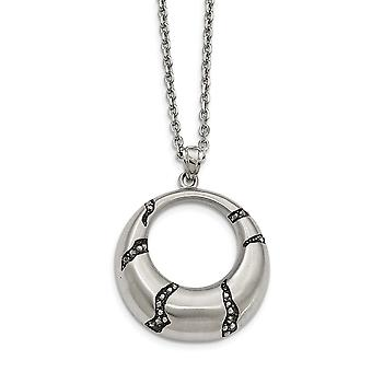 Edelstahl gebürstet mit schwarzem Öl und Kristall Kreis Halskette 20 Zoll Schmuck Geschenke für Frauen
